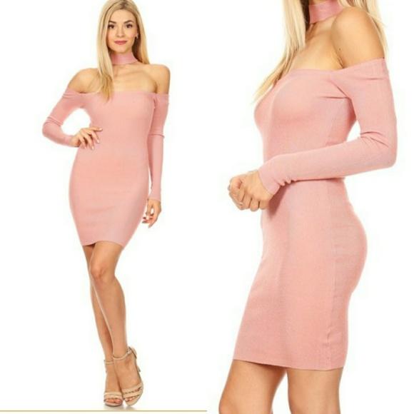 f36f4a30e4b 🎈CLEARANCE 🎈 Pink Ribbed Choker Sweater Dress